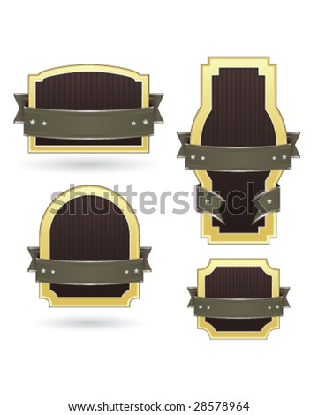 Blank product, food, or service badge and label templates for use on websites, packaging, and print materials - stock vector