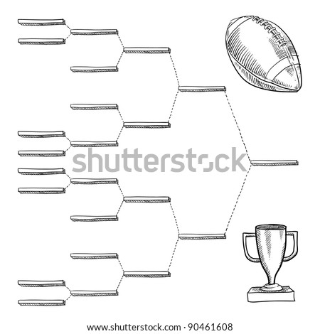 Blank professional football playoff bracket - vector file with doodle style