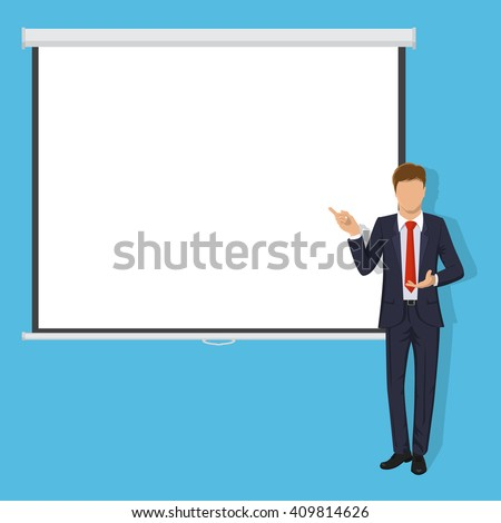 Blank Projection screen. Modern handsome business man  dressed in a suit. Successful Teacher giving lecture, training, seminar or presentation. Isolated on blue background. Flat Vector illustration