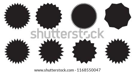 Blank promo stickers set. Starburst, graphic, sunburst, shine, stamp, decoration, sunshine, glitter symbol. Hipster Style badges. Vector design element great for retro style projects. #1168550047