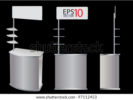 Blank promotion counter display Vector template for design work (3 view)