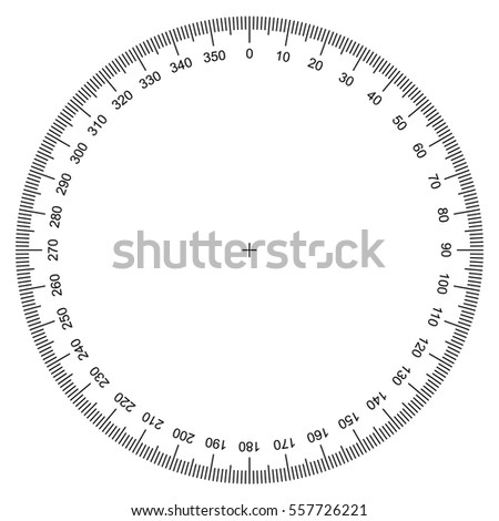 blank protractor - Actual Size Graduation isolated on background vector
