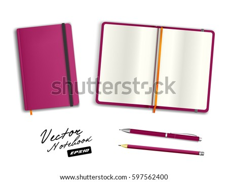 Blank purple open and closed copybook template with elastic band and bookmark. Realistic stationery blank purple pen and pencil. Notebook Vector illustration isolated on white background.