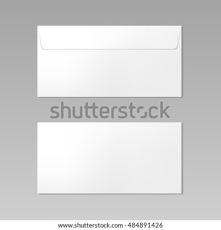 Blank realistic closed envelope front and back view mockup