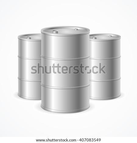 Blank Realistic Oil Barrel Drums. Vector illustration
