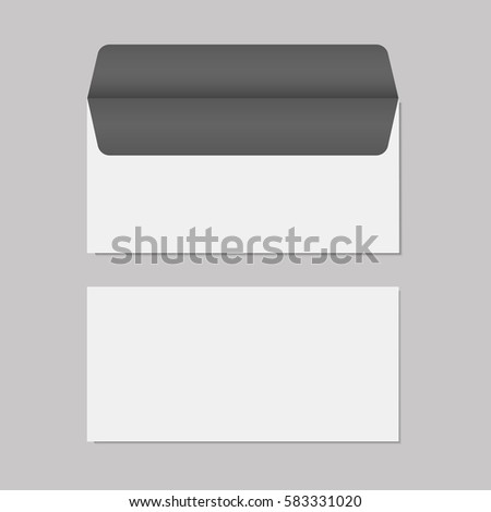 Blank realistic opened envelope front and back view mock up. Vector