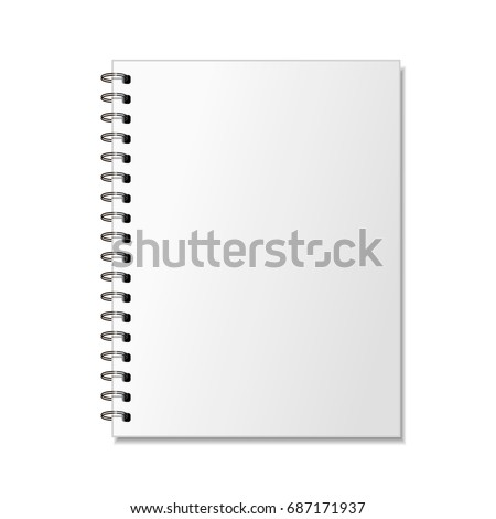 Blank realistic spiral notepad mockup for branding isolated on white