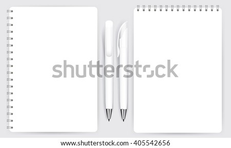 Blank realistic spiral notepad notebook and white pen isolated on white vector. Display Mock up for corporate identity and promotion objects.