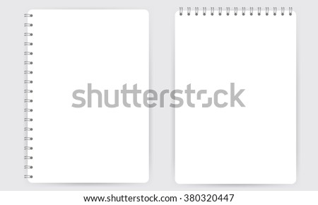 Blank realistic spiral notepad notebook isolated on white vector. Display Mock up.