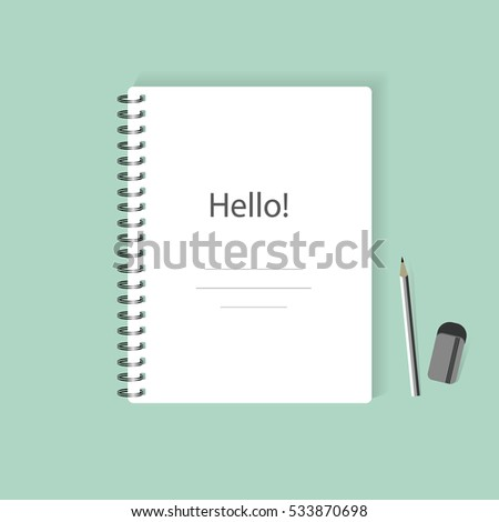 Blank realistic spiral notepad notebook isolated vector. Display Mock up.