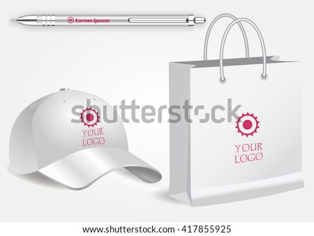 Blank realistic spiral notepad notebook, white pen and baseball cap isolated on white vector. Display Mock up for corporate identity and promotion objects