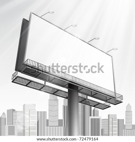 Blank, realistic vector advertising construction on city background