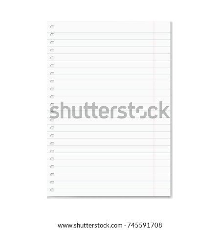 Blank realistic vector lined school notebook paper sheet with red margins and shadow. Copybook or exercise book clear ruled page with holes for spiral binder, mockup for your text