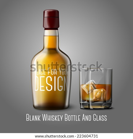 Blank realistic whiskey bottle with glass of whiskey and ice, isolated on grey background with place for your design and branding. Vector