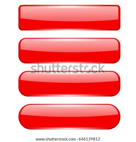 Blank red menu buttons. Vector 3d illustration isolated on white background