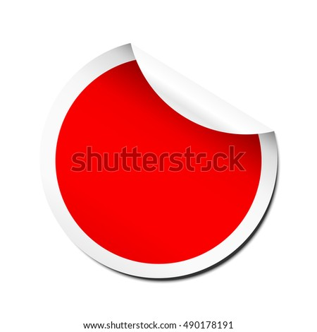 Blank red peel off sticker template #490178191