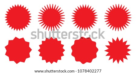 Blank red promo stickers set. Starburst, graphic, sunburst, shine, stamp, decoration, sunshine, glitter symbol. Hipster Style badges. Vector design element great for retro style projects.