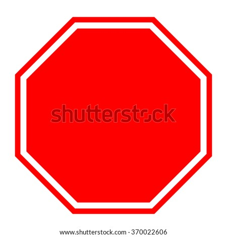 Blank red stop sign, vector illustration. #370022606
