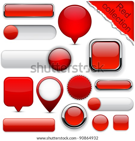 Blank red web buttons for website or app Vector eps10