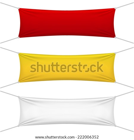 blank red, yellow, white textile banners with copy space suspended by ropes by all four corners and stretched tight hanging suspended against a white background