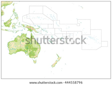 Blank Relief Map of Oceania isolated on white. All elements are separated in editable layers clearly labeled.