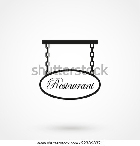 Blank restaurant sign isolated on background. Modern flat pictogram, business, marketing, internet concept. Trendy Simple vector symbol for web site design or button to mobile app. Logo illustration