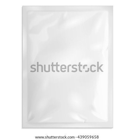 Blank Retort Foil Pouch Packaging Medicine Drugs Or Coffee, Salt, Sugar, Sachet, Sweets Or Condom. Illustration Isolated On White Background. Mock Up Product Template. Ready For Your Design. Vector
