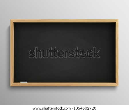 Blank retro class blackboard with chalk pieces. Empty black chalkboard vector illustration for education concept. Blackboard for school, chalkboard for classroom