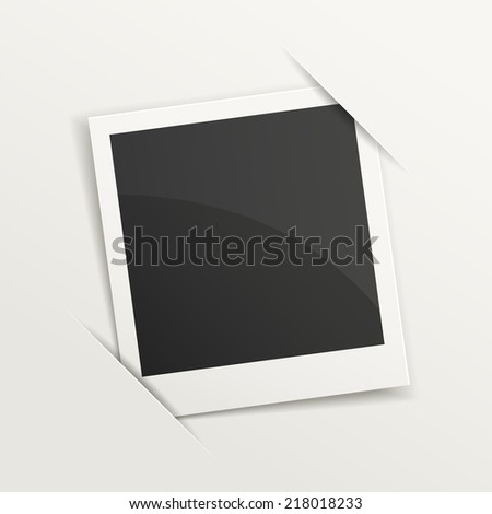 blank retro photo frame over white