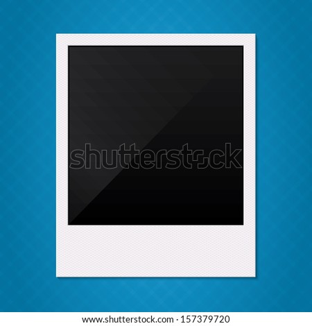 Blank retro polaroid photo frame Vector illustration Empty photo frame on blue background