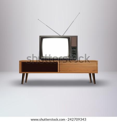 blank retro television vector