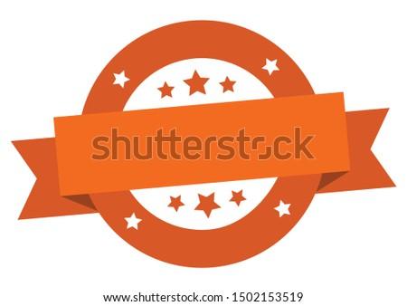 blank ribbon. blank round orange sign. blank peeler