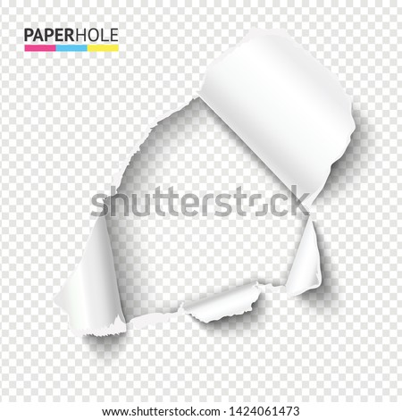 Blank rip paper hole with ripped edge for sale banner to reveal your message. Vector illustration Photo stock ©