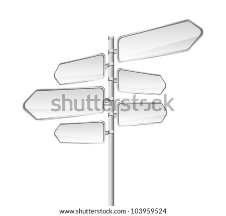 blank road sign isolated over white background. vector