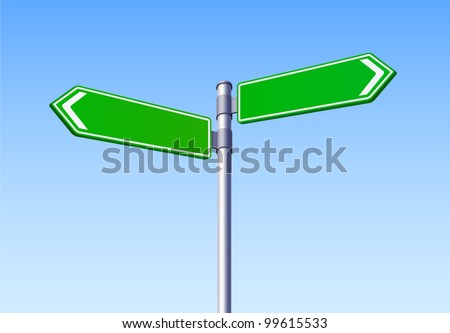 Blank Road Sign Two Arrow Vector