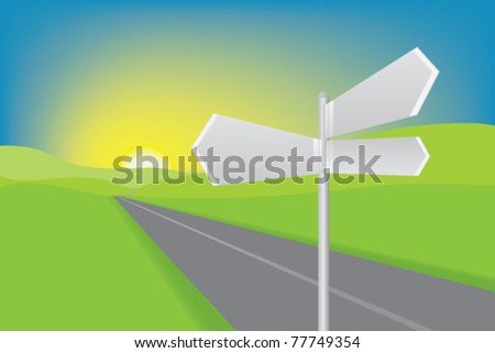 Blank road signs in country sunset setting