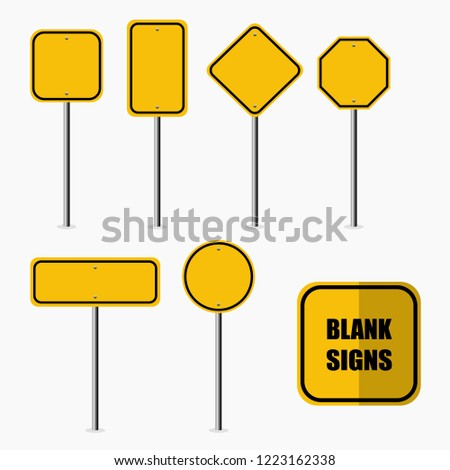 Blank Road Signs Set, Vector Illustration, Signage.