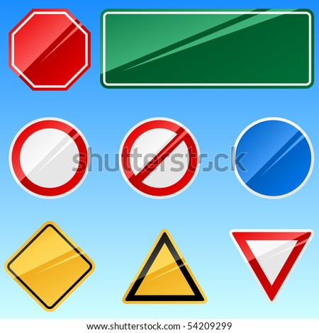 Blank road signs vector collection isolated on blue background.