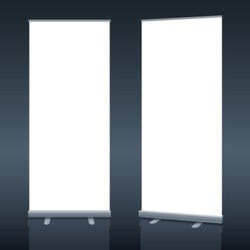 Blank roll up banner display template for designers. Vector EPS10.