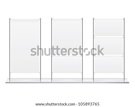 Blank roll up banner display vector