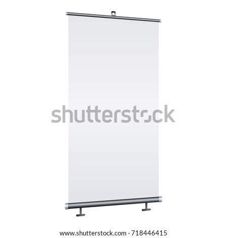 Blank roll-up banner isolated on white background. Design template blank for designers. Flipchart for training or promotional presentation. Vertical. Vector illustration EPS 10