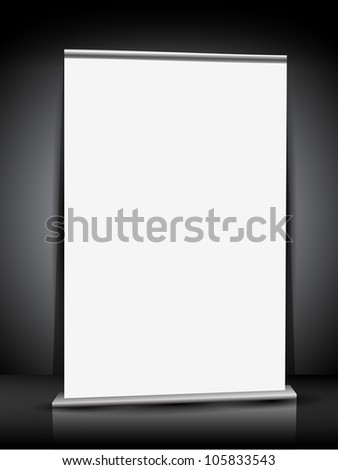 Blank roll up display with stand banner for your business or design work. EPS 10.