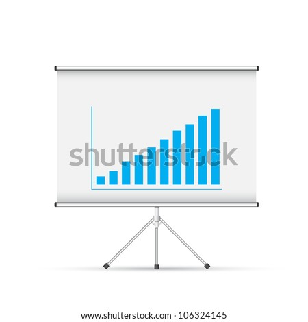 Blank roll up poster with blue graph - stock vector