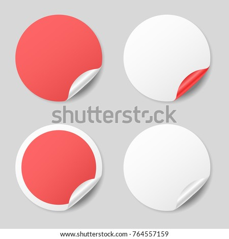 Blank round stickers with curled corners, realistic mockup #764557159