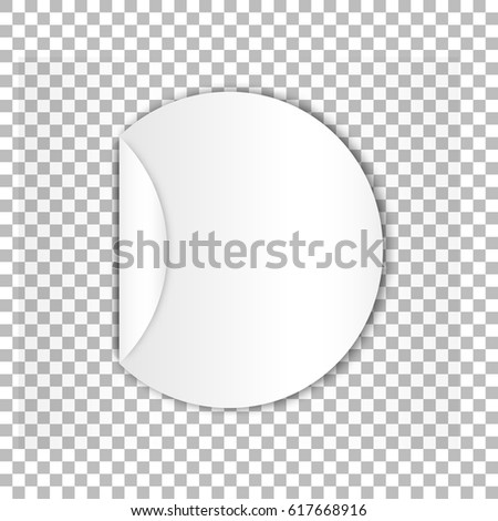 Blank round sticky paper sheet with curl age and high detailed shadows isolated on checked background  #617668916