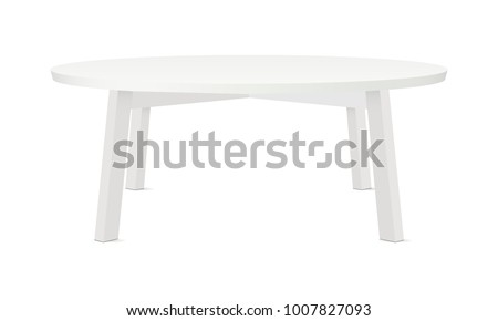 Blank round table mockup, isolated on white background. Vector illustrtaion