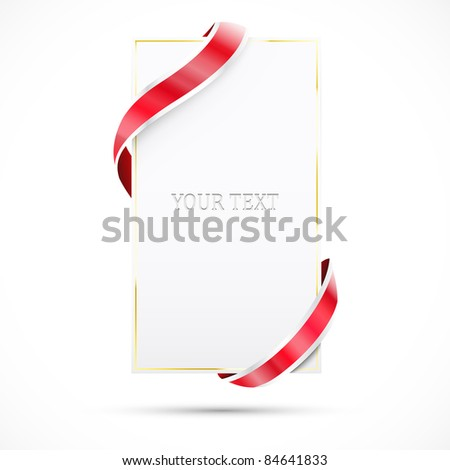 Blank sale tag with gold frame. Vector illustration