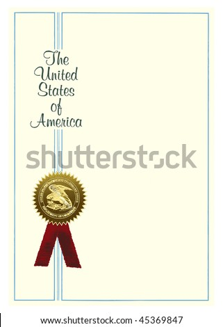 Blank scientific patent with a medal.