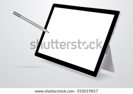 Blank screen tablet with a stylus.