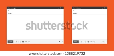 Blank send E-mail template window pack. Internet browser or app mail interface. New design for mail message isolated on orange background with shadow. Vector illustration #1388219732